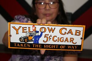 Yellow Cab 5c Cigar Tobacco Taxi Stop Police Gas Oil Porcelain Metal Sign