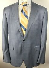 Peter Millar Blue Gray  Micro Check Sport Coat 100% Wool Size 44T Blazer