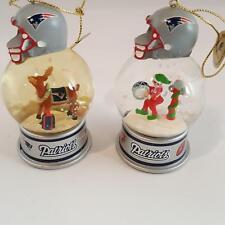 Danbury Mint New England Patriots Snow Globe 2 Ornaments Reindeer Fan Boy Drum