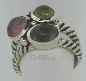 RING:  925 SILVER WITH 3 OVAL/ROUND COLOURED TOURMALINES/GEMSTONES  #7