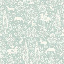 ARCHIVES WOODLAND WALLPAPER DUCK EGG - CROWN M1166 FLORAL