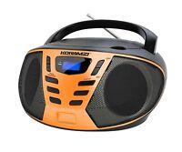 Portable CD Boombox with AM/FM Radio, Top Loading CD Player KORAMZI CD55-BKO