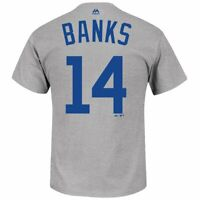 Majestic Ernie Banks Chicago Cubs 1953 Cooperstown Player Gray Shirt