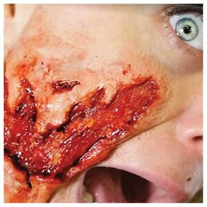 3D Torn Flesh Gore Blood Special Effects Make Up Halloween Latex Free Transfer