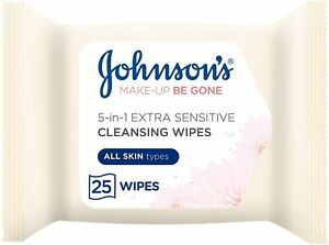 Johnson's Makeup Be Gone Extra-Sensitive Wipes, 6 Packs of 25 - UK 48H DELIVERY