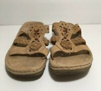 Earth Spirit Womens Gelron 2000 Beaded Leather Slip On Sandals Tan Size 10 US