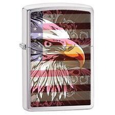 Zippo 28652 eagle and flag full size brushed chrome Lighter
