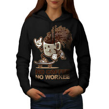 Wellcoda No Coffee Funny Pun Womens Hoodie, Caffeine Casual Hooded Sweatshirt