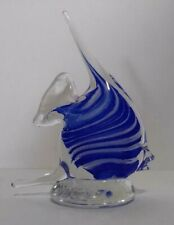 Gorgeous cobalt blue and white Murano art style fish on clear glass pedestal