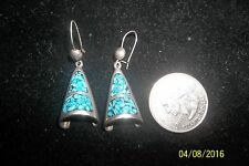 Turquoise Coral Inlay Earrings Native American Sterling Silver