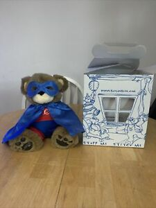 Build a Bear with outfit: cape, eye mask and superhero suit red and blue