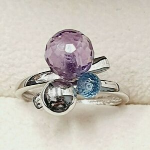 18ct White Gold Amethyst & Topaz Fancy Ring Size M 1/2 STOCK CLEARANCE