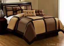 7 Piece Brown Patchwork  Duvet Cover Zipper Closure Set Cal King Size New