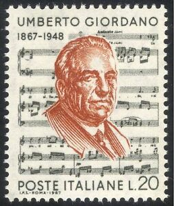 Italy 1967 U Giordano/Composer/Music/People/Musicians/Opera/Singing 1v (n43714)