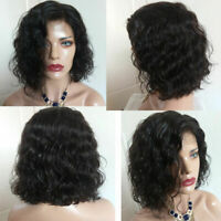 13X6 Lace Front Wigs Short Wave Brazilian Virgin Human Hair Bob Full Lace Wigs