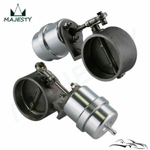 """2 x 2.5"""" Exhaust Control Valve Set Vacuum Actuator Closed Style Cutout Downpipe"""
