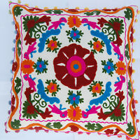 "16x16"" Indian Cotton Pillow Cases Handmade Suzani Embroidery Cushion Cover IFC7"