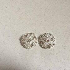 1 Pair Silver Diamonte/Rhinestone Button Centrepieces - Diy Browbands