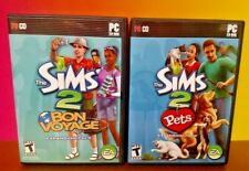 Sims 2 Pets + Bon Voyage  Windows PC Game Expansion Pack w/ Key on Manual Tested