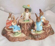 Beatrix Potter's Peter Rabbit Figurines Beswick England Warne MINT Lot 5 w STAND