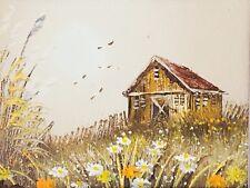 Vintage Artist Signed Small Oil Painting Seaside Cottage Seagulls Flowers Framed