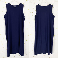 Eileen Fisher Maxi Dress Size XL Navy Blue Sleeveless Organic Cotton Stretch