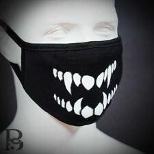 Cloth Face Skull Vampire Teeth Mask Black Reusable Washable