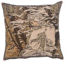 "Mucha Winter I Fine Art Belgian Design Tapestry Cushion Pillow Cover H18"" X W18"""