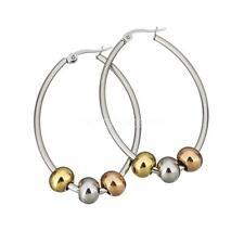 Fashion Women Plated Stainless Steel Oval Hoop Circle Ear Earrings Jewelry