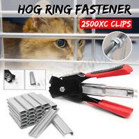 Hog Ring Fastener Gun Cage Birdcage Pliers Seal Ring Clamp + 2500 x C nail