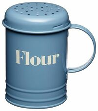 Kitchen Craft Metal Enamel Vintage Retro Flour Shaker Sifter Blue KCHMFLOUR