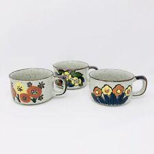 Set Of Three Vintage Otagiri Stoneware Soup Mugs With Floral Design Japan