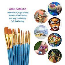 10 Pcs Paint Brush Set, Watercolor Oil, Acrylic, Body, Face, Craft Art Painting