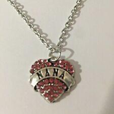 Love Heart Pendant Pink Rhinestone Necklace Chain Charm Nana New