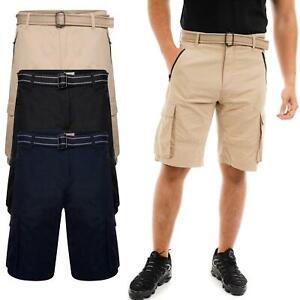 Mens Cargo Shorts Summer 100% Cotton 6 Pockets Half Pant Trouser Belt Designer
