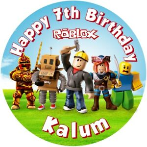 """Roblox , 7.5"""" , 2"""" , 1.5"""" ROUND EDIBLE ICING PRINTED CAKE TOPPER"""
