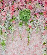 GREEN PINK FLORAL CASCADE BACKDROP BACKGROUND VINYL PHOTO PROP 5X7FT 150x220CM