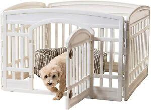 """IRIS Dog White Playpen Pet Exercise Pen with Door 4 Panel 24"""" Height"""