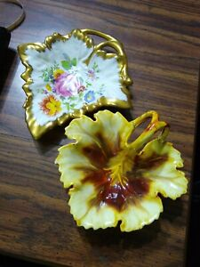 "PAIR OF  ""FOLIAGE"" HAND PAINTED CERAMIC LEAF CANDY NUT DISHES 5"" -7"" preowned"
