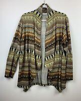 Susan Graver Women's L Printed Sweater Knit Open Front Long Sleeve Cardigan EUC
