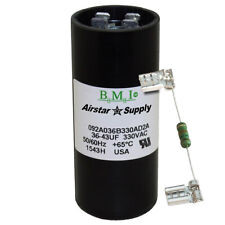 36 - 43 uF x 330 VAC BMI # 092A036B330AD2A Motor Start AC Capacitor w/ Resistor