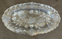 BEAUTIFUL CUT GLASS Oval Footed Tray  /Bowl LOTUS FLOWER, BIRD & BUTTERFLY Motif