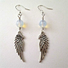 SILVER ANGEL WINGS & OPALITE EARRINGS ~ ENCHANTING!