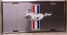 Aluminum License Plate vehicle Ford Mustang emblem logo on satin silver NEW
