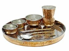 Traditional Copper Indian Hammered Bowl Thali Serveware Kitchenware Dinner Set