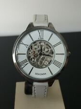 LADIES SEKONDA  SKELETON  DESIGN WATCH WHITE DIAL WHITE LEATHER STRAP