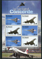 St Vincent & Grenadines Concorde Stamps 2006 MNH Last Ever Flight G-BOAF 6v M/S