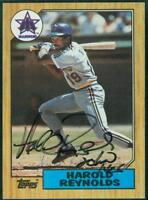 Original Autograph of Harold Reynolds of the Mariners on a 1987 Topps Card
