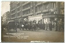 "Mr Vanderbilt's Coach ""Venture"" Leaving The Metropole May 5th 1908 RP PPC"