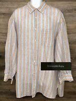 Ermenegildo Zegna Men's 100% Linen Multi-Color Striped Long Sleeve Shirt 2XB